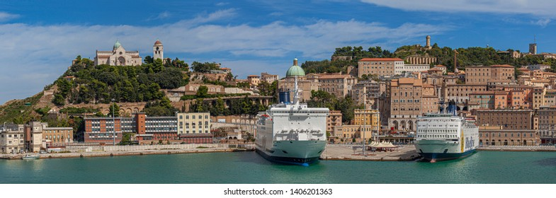 ANCONA, ITALY - SEPTEMBER 18, 2013: Panoramic view of old town and port in Ancona