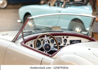 Ancona , Italy - September 23th, 2018 :  Steering wheel and dashboard of a MG MGA 1960 - 61 vintage car at a vintage cars exhibition in Ancona, Italy.