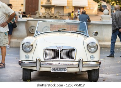 Ancona , Italy - September 23th, 2018 :  Front view of a MG MGA 1960 - 61 vintage car at a vintage cars exhibition in Ancona, Italy.
