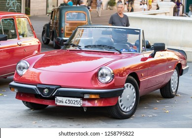 Ancona , Italy - September 23th, 2018 : Alfa Romeo Spider serie 4 at a vintage cars exhibition in Ancona, Italy.