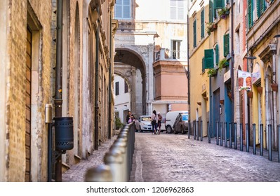Ancona, Italy - September 27th, 2018: The Via Antonio Gramsci at the old town center of Ancona.