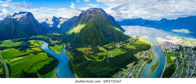 Andalsnes aerial panoramic view, Andalsnes is a town in Rauma Municipality in Norway.