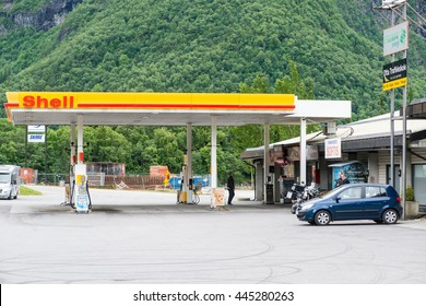 Andalsnes, NORWAY - CIRCA JUNE, 2016: Royal Dutch Shell Plc or Shell is an Anglo-Dutch multinational oil and gas company. It is the fourth largest company in the world as of 2014, in term of revenue.