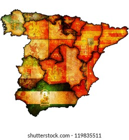 andalucia region on administration map of regions of spain with flags and emblems