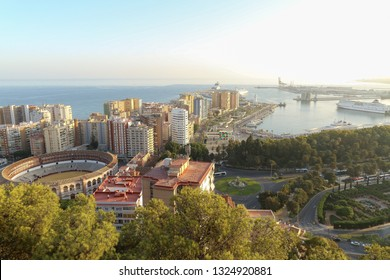 Málaga, Andalucia, Spain, October 15. 2017 - view of bullring skyline and harbour of malaga