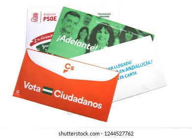 Andalucia.Spain. December 2018 - Some envelopes of electoral propaganda for the elections of the Junta de Andalucía of 2018