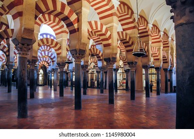 Andalusia, Spain - january 20, 2009: View of the interior of the mosque of Cordoba, with arches and columns in Arabic style