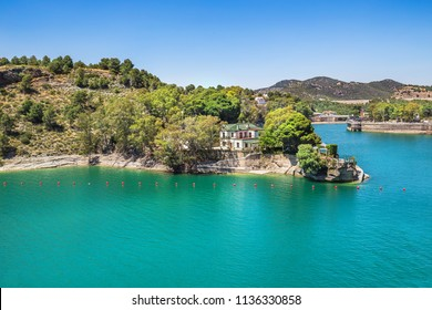 Andalusia, Spain - June 17, 2018: House on the reservoir Guadalhorce, Malaga province, Spain