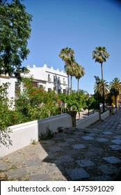 Andalusia street view of Puerto de Santa Maria in Spain in summe