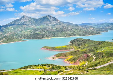 Andalusia, view from Zahara, andalusia panorama, Lake zahara, beautiful landscape in spain, summertime, colorful andalusia, traveling in andalusia, los alcornocales, mediterranean landscape, mountains