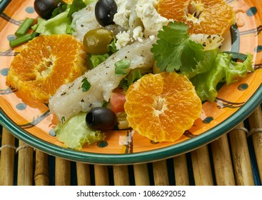 Andalusian codfish salad, Orange salad with salt codfish