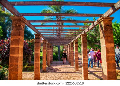 Andalusian gardens in Udayas kasbah.Kasbah of the Udayas is a small fortified complex and a symbol of the Almohad arquitecture, added to the UNESCO World Heritage.Rabat, Morocco- February 5, 2018