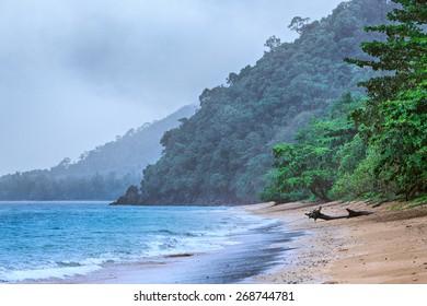 Andaman sea beach under rain, Samui, Thailand