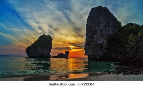 Andaman sea, sunset Nui Bay Beach. Thailand, Krabi province.