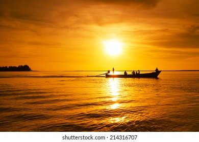 Andaman Sea at sunset in Thailand