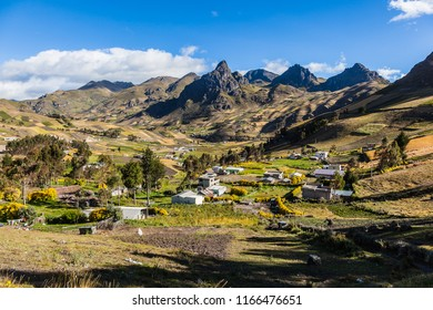 Andean agricultural area in the province of Cotopaxi, Zumbahua. Crops between mountains and rocks
