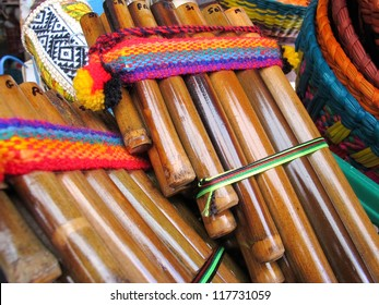 Andean flutes in a traditional product market. Chile,