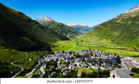 Andermatt is a beautiful small town surrounded by the swiss Alps. A popular tourist spot to take the Glacier Express train to enjoy the beautiful views of the valleys and glaciers along the route.