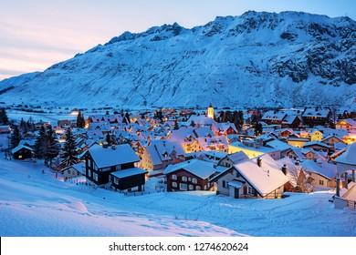 Andermatt village in swiss Alps mountains, Switzerland, is a popular winter sport resort
