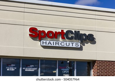 Anderson - Circa October 2016: Sport Clips Strip Mall Haircut Location. SportClips offers a sports themed experience I