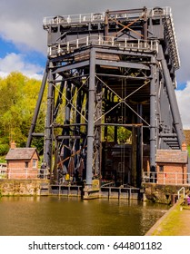 Anderton, Northwich, Cheshire. April 2017. The amazing structure of the anderton boat lift connection between the river Weaver and the Trent and Mersey canals at Anderton, Northwich, Cheshire, UK