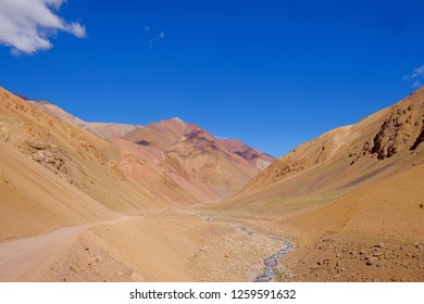 Andes landscape and the road leading to Paso De Agua Negra mountain pass, Region de Coquimbo, Chile to Argentina, South America