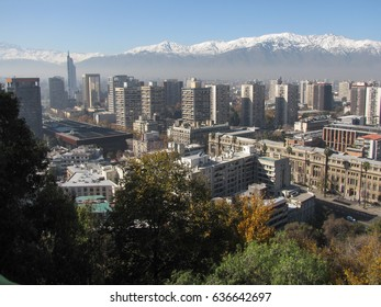 The Andes mountain range seen by several angles and big and beautiful, postcard of the city of Santiago, capital of Chile, June 2014.