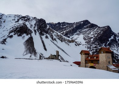 The Andes, Andes Mountains or Andean Mountains, Argentina  - December, 10th, 2014. A restaurant in the longest continental mountain range in the world: the Andes mountain, Mendoza, Argentina.