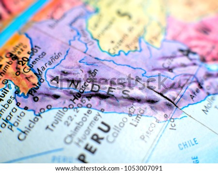 Andes Mountains Peru Map.Andes Mountains Isolated Focus Macro Shot Stock Photo Edit Now