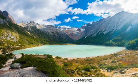 Andes mountains and lake Laguna Esmeralda near Ushuaia in Tierra del Fuego, Argentina. Panoramic photo