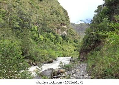 Andes mountains landscape with a river and a ravine, Banos, Ecuador