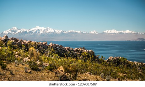 Andes mountains range view of sun island ( Isla del sol ) in titicaca lake, bolivia