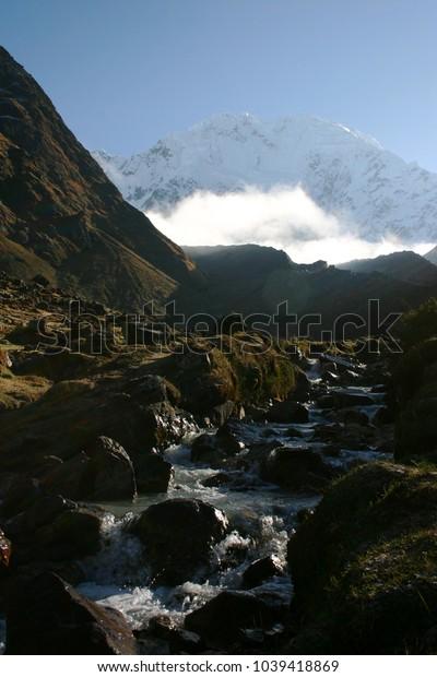 Andes Mountains & Stream - Salkantay Peak, Peru