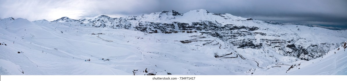 Andes Mountains Valle Nevado El Colorado Ski Resorts Panoramic Landscape - Winter in Chile