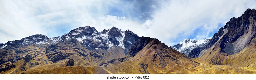 The Andes (or the Southern Cordilleras) - a big panorama of the Peruvian highest tops, ridges and mountains. Collage from several photos