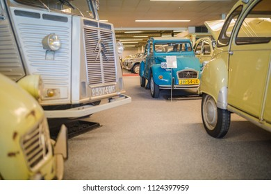 ANDIJK, NETHERLANDS - JUNE 30, 2018: The Citroen 2CV Museum of Edwin Groen in the Netherlands with a collection of heritage vintage oldtimers Citroen 2CV and Citroen Dyane cars