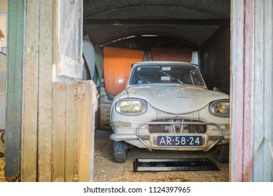ANDIJK, NETHERLANDS - JUNE 30, 2018: Barnd find of a Citroen AMI in the Museum of Edwin Groen in the Netherlands with a collection of heritage vintage oldtimers Citroen 2CV and Citroen Dyane cars