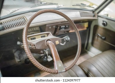ANDIJK, NETHERLANDS - JUNE 30, 2018: Citroen AMI steering wheel and dashboard in the 2CV Museum in the Netherlands with a collection of heritage vintage oldtimers Citroen 2CV and Citroen Dyane cars