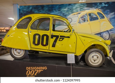 ANDIJK, NETHERLANDS - JUNE 30, 2018: The Citroen 2CV 007 edition in the Museum of Edwin Groen in the Netherlands with a collection of heritage vintage oldtimers Citroen 2CV and Citroen Dyane cars