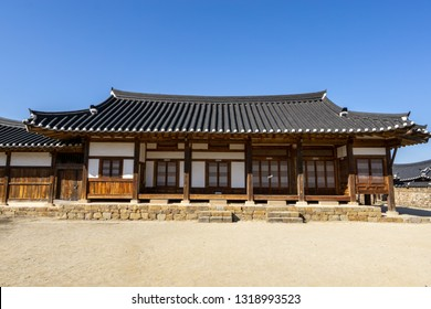 Andong Hahoe Folk Village is UNESCO world heritage famous travel iconic destination in Andong, South Korea. Traditional korean style houses and homes along the narrow streets.