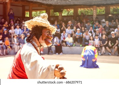andong hahoe village, in republic korea, june 11, 2017, people are performing korean traditional mask dance