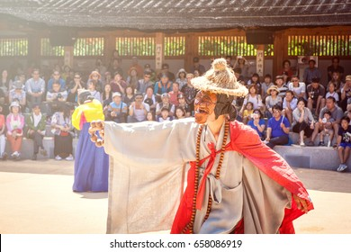 andong hahoe village, in repulbic korea, june 11, 2017, people are performiing korean traditional mask dance