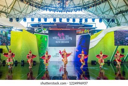 ANDONG , SOUTH KOREA - OCT 01 : Thai dancers performing the traditinal Thai Khon dance at the Mask dance festival in Andong South Korea on October 01 2018