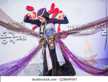 ANDONG , SOUTH KOREA - OCT 01 : Indonesian dancer from Sma Nasima Semaran dance groupe perform at the Mask dance festival in Andong South Korea on October 01 2018
