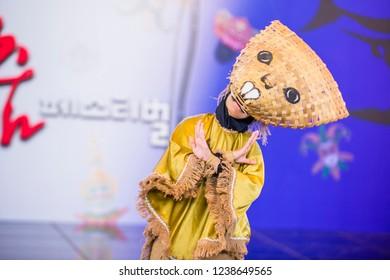 ANDONG , SOUTH KOREA - OCT 01 : Indonesian dancer from Sma Nasima Semaran dance groupe perform at the Mask dance festival in Andong South Korea on October 01 2018