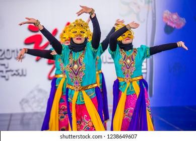 ANDONG , SOUTH KOREA - OCT 01 : Indonesian dancers from Sma Nasima Semaran dance groupe perform at the Mask dance festival in Andong South Korea on October 01 2018