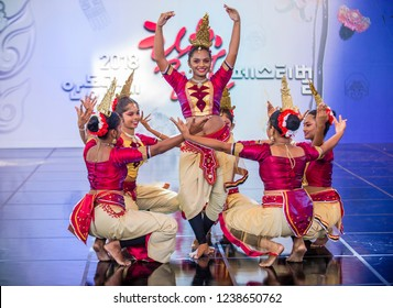 ANDONG , SOUTH KOREA - OCT 01 : Srilankan dancers from Hillwood College Dance Troupe perform at the Maskdance festival held in Andong South Korea on October 01 2018