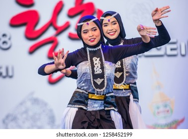ANDONG , SOUTH KOREA - OCT 01 : Indonesian dancers from Sma Nasima Semaran dance groupe perform at the Mask dance festival in Andong South Korea on October 01 2018