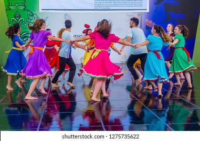 ANDONG , SOUTH KOREA - OCT 01 : Israeli dancers from Karmiel Dance Company perform at the Maskdance festival held in Andong South Korea on October 01 2018
