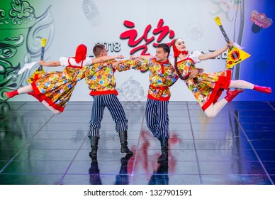 ANDONG , SOUTH KOREA - OCT 01 : Russain dancers from Rovesniki Choreographic Ensemble perform at the Maskdance festival held in Andong South Korea on October 01 2018